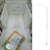Johny's Glitter beige ΣΕΤ προίκας κρεβατιού 6 τεμαχίων + μεταλλική βάση κουνουπιέρας