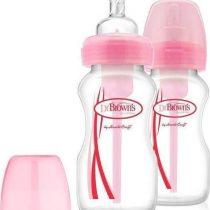Dr. Brown's Natural Flow pink, Πλαστικά Μπιμπερό με Φαρδύ Λαιμό 2x270ml-WB92405_92305