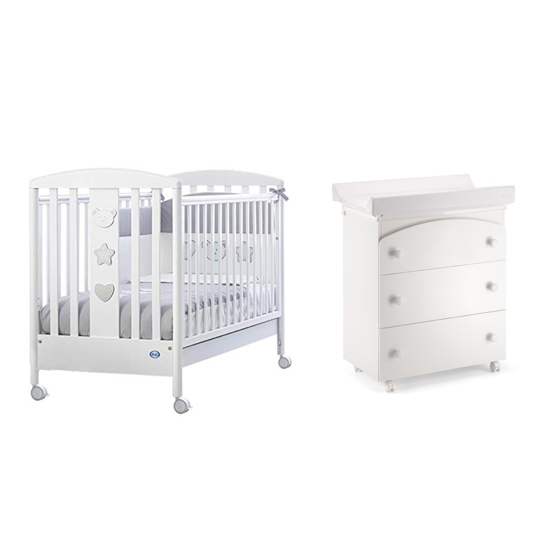 a9324937e18 Pali Birillo & Tris bianco βρεφικό κρεβάτι με συρταριέρα, αλλαξιέρα και  μπανάκι