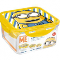 Stor Minion Made Despicable Me Σκεύη Φύλαξης Φαγητού 3 τεμ (1440ml,730ml,290ml)
