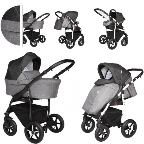 Baby Merc Q9/177B Grey-Black Πολυκαρότσι 3 σε 1