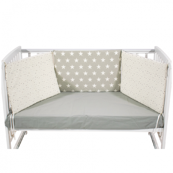 Just Baby Bumber For Bed Grey Stars -3x(60×40)