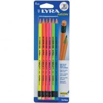 Diakakis imports Lyra Μολύβι Με Γόμα Hb Neon 6Tem Blister -0099541