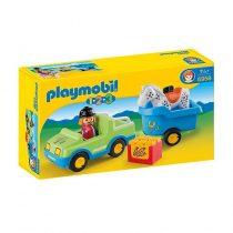 Playmobil 1/2/3: Αυτοκίνητο Και Τρέιλερ Με Άλογο -6958