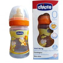Chicco Well Being, Πλαστικό Μπιμπερό Πορτοκαλί, Θηλή Καουτσούκ, 150ml